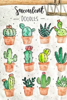 20 Creative step by step cactus and succulent doodle ideas for your bullet journ. 20 Creative step by step cactus and succulent doodle ideas for your bullet journal Succulents Drawing, Cactus Drawing, Cactus Painting, Plant Drawing, Cactus Art, Cacti And Succulents, Cactus Plants, Indoor Cactus, Propagating Succulents