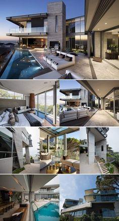 Architectural Splendour by SAOTA on Top Billing Modern House Plans, Modern House Design, Aviation Technology, Modern Architecture House, Flat Roof, Luxury Homes, Villa, Backyard, Houses