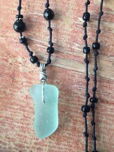 "Men's Sea Glass Jewelry Necklace 26"" Beaded Surf Tumbled Mint Foam HandMade  | eBay"