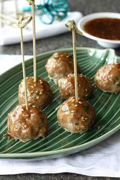 You can't eat just one!  Baked Teriyaki Turkey Meatball Recipe | cookincanuck.com #meatballs