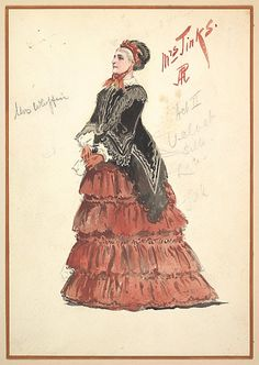 Percy Anderson (British, 1850/51–1928). Costume Design for 'Mrs. Jinks', Act II, 1901. The Metropolitan Museum of Art, New York. Gift of Frank Cambria, 1960 (60.588(6)) | 'Mrs. Jinks' is wearing a black velvet and silk top with a red tiered and ruffled skirt. She is wearing red gloves and carrying a handkerchief.