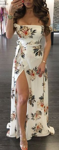 Off the shoulder flower print prom dress, slit side long party dress, charming stain evening dress