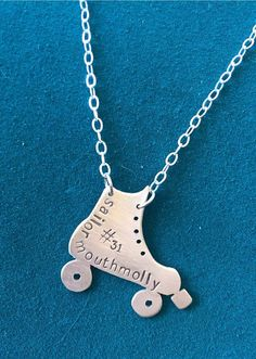 Custom Silver Roller Derby Skate Necklace by AnniePants on Etsy