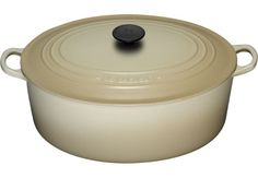 This Le Creuset 9.5 qt in Dune is on my wish list...  It's HUGE and perfect for family sized portions...