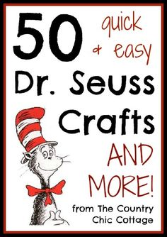 Seuss Crafts -- quick and easy! Seuss Crafts -- quick and easy! Dr. Seuss, Dr Seuss Week, Dr Seuss Crafts, Preschool Crafts, Kids Crafts, Dr Seuss Activities, Activities For Kids, Birthday Activities, Library Activities