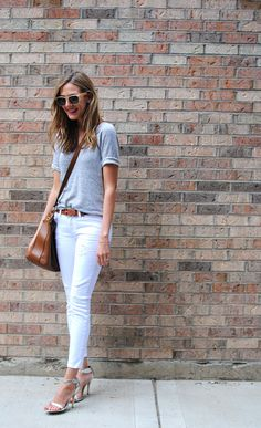 Gray top and white pants