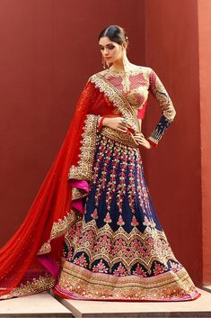 Georgette Semi Stitched A-Line Lehenga Choli In Blue and Red Colour