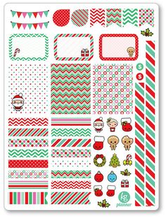 Kawaii Christmas Decorating Kit / Weekly Spread Planner Stickers for Erin Condren Planner, Filofax, Plum Paper