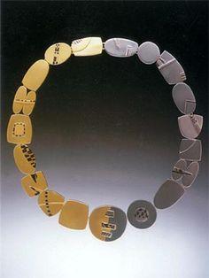 RENA KOOPMAN-USA, 22k & 18k white gold links with overlays of 18k white & yellow gold, 22k & shakudo