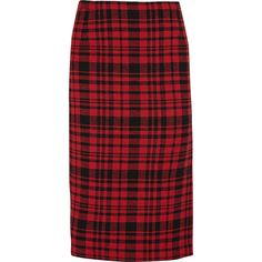 No. 21 - Plaid Cotton And Linen-blend Skirt ($351) ❤ liked on Polyvore featuring skirts, bottoms, red, red print skirt, brick skirting, tartan plaid skirt, print skirt and twist skirt