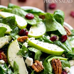 Cranberry Apple Pecan Salad with Creamy Poppyseed Dressing Recipe Salads with baby spinach, pecans, granny smith apples, feta cheese crumbles, dried cranberries, dressing, mayonnaise, 2% reduced-fat milk, sugar, cider vinegar, poppyseeds