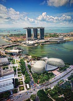 View of Marina Bay Sands, esplanade theatre and Marina Bay Area ...