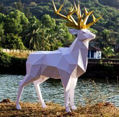 Papercraft DEER pepakura PDF template Low Poly Paper Sculpture DIY gift Decor for crismass home and office pattern polygonal anmals – Origami 2020 Low Poly, 3d Paper, Paper Crafts, Silhouette Cameo, Polygon Art, Polygon Shape, Paper Box Template, Wild Forest, Modelos 3d