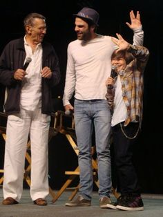 Possibly one of the cutest pictures ever!!!!!!!!!! old Spock, new Spock and little Spock =) <3 <3 <3