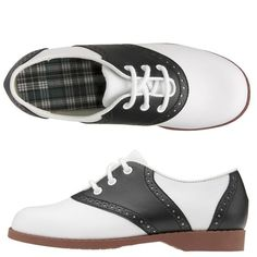 Black and White Saddle Shoes .. i had a pair of navy & cream saddle oxfords in jr. high (70's)