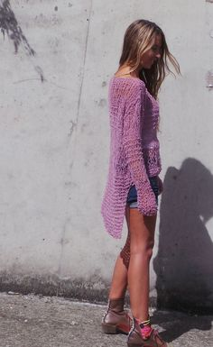 Pink lightweight  grunge loose knit sweater by ileaiye on Etsy,  This would be cute in cotton for a swimsuit coverup.