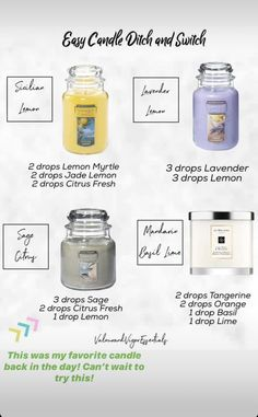 Essential Oil Candles, Essential Oil Uses, Young Living Essential Oils, Aromatherapy Oils, Yl Oils, Essential Oil Diffuser Blends, Diffuser Recipes, Living Oils, Lavender