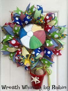 Deco Mesh Summer Beach Ball Wreath in Primary Colors, Summer Wreath, Beach Wreath, Pool Party Decor, Beachball Wreath, Ocean Wreath by WreathWhimsybyRobin on Etsy