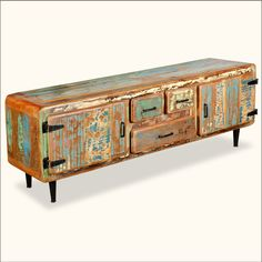 Retro Reclaimed Painted Wood Media Console Cabinet