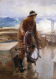 Pescador na roda. Augustus Waldeck Buhler (Nova York, USA, 1853 - 1920, Gloucester, USA).