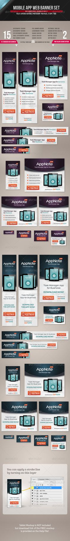 Mobile App Web Banner Set - A pack of web banner templates ideal for mobile app launch promotion or marketing on website.More info on these banner templates and how to get the sourcefiles of these templates can be found on Graphic River,     http://graphicriver.net/item/mobile-app-web-banner-set/4543390?r=kinzi21
