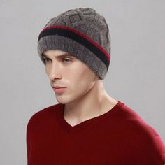 Mens winter outdoor beanie hat lined fleece thick knit hats