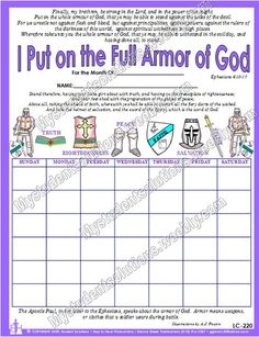 Full Armor Of God Chart 9 x 12 5 mil by MyHeavenlyGreetings, $5.50