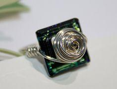 Cosmic Square Crystal Ring Swarovski by HoneysuckleJewelscom, $42.00