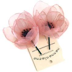 Organza Bridal Bobby Hair Pin Charm Handmade Peach by mammamiaeme, $22.00