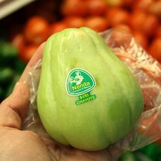 Chayote- TRIED IT!  While the chayote is technically a fruit, it is often cooked like a vegetable. It is compared to a potato or a cucumber and can be boiled, fried, baked, or pickled. The plant is native to Mexico and Central America, but locals in Australia and New Zealand grow chayotes in their gardens.