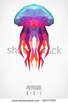 Find Abstract Polygonal Jellyfish Low Poly Illustration stock images in HD and millions of other royalty-free stock photos, illustrations and vectors in the Shutterstock collection. Geometric Shapes Art, Geometric Drawing, Geometric Painting, Geometric Animal, Low Poly, Pencil Texture, Doodle Drawing, Graphic Design Lessons, Jellyfish Tattoo