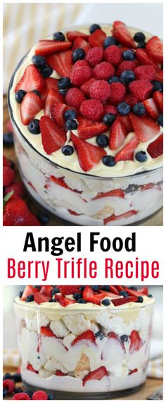 This angel food berry trifle is as delicious as it is beautiful. The perfect summer dessert with its layers of fresh berries, light cake and cream! Angel Food Cake Trifle, Angel Food Cake Desserts, Angle Food Cake Recipes, Food Cakes, Easy Desserts, Strawberry Angel Food Cake, Trifle Cake, Recipe Using Angel Food Cake, Trifle Bowl Recipes