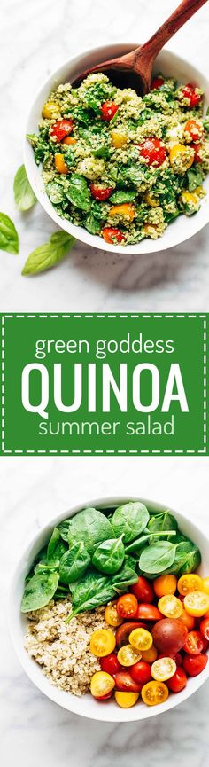 Green Goddess Quinoa Summer Salad - simple, healthy, and extremely adaptable to whatever veggies you have on hand! my family LOVES this recipe. vegetarian and can be made vegan. #salad #quinoa #spinach #tomatoes #summer #potluck | pinchofyum.com