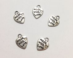 5 Pcs. Made w/ Love Charms, Made w/ Love Pendant, Heart Charms, Silver Antique Charms, Necklace Charms, Jewelry Charms, Vintage Accessories on Etsy, $2.00