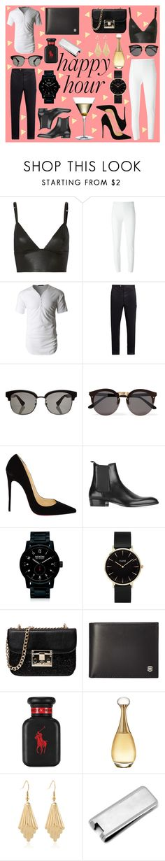 """His & Hers: Happy Hour"" by photographystyle ❤ liked on Polyvore featuring T By Alexander Wang, Moschino, LE3NO, Moncler Gamme Bleu, Gucci, Illesteva, Christian Louboutin, Yves Saint Laurent, Nixon and CLUSE"