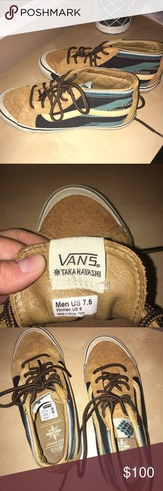 Vans Taka Hayashi Chimayo shoe Van's Taka Hayashi chimayo sk8-mid from the spring 2014 collection. With tan suede and blue Aztec style print. Gently used with some signs of wear. Super comfortable. vans Shoes Sneakers