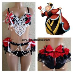 This rave outfit will have them on their knees bowing to the Queen of Hearts. The black bra embellished with crystal rhinestones, red hearts and red