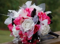 Large Wedding Ceremony Bouquet 30ROSES Hot Pink Black White Tulle Pearl Feather | eBay