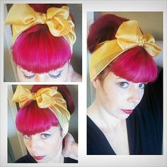 Golden Yellow Vintage Style Chiffon Hair Scarf Headwrap Hair Bow 1940s 1950s Rockabilly - Pin Up - For Women, Teens Scarves