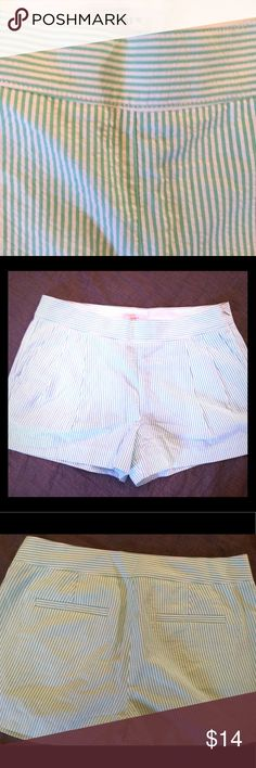 JCrew seersucker striped shorts 4 Shows little if any wear. Zips on the side.  Mint green and white stripe.  Very pretty. Made of 100% cotton. J. Crew Shorts