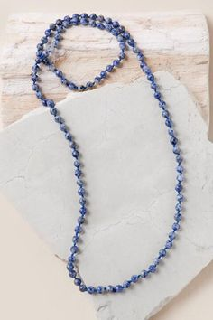 Double Wrap Necklace in Denim Lapis