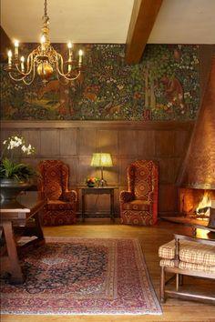 Painted tapestry by Robert Boardman Howard in the Mural Room | The Ahwahnee hotel at Yosemite National Park
