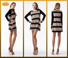 D3009A Floral print striped mini dress
