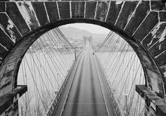 Wheeling Suspension Bridge over the Ohio River — West Virginia Photo By Jack Boucher - March 1977
