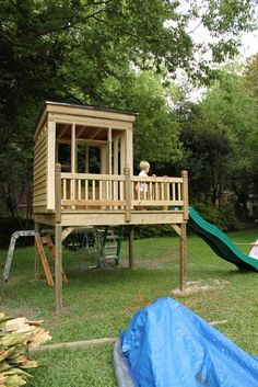 Since not one single play/swing set is big enough for our 4 kids, we will be building one... i like this one