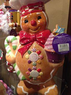 Love this gingerbread cookie jar! Teapot Cookies, Biscuit Cookies, Fun Cookies, Holiday Cookies, Christmas Cookie Jars, Christmas Dishes, Christmas Kitchen, Gingerbread Man Cookies, Christmas Gingerbread