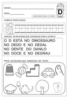 Atividades letra D - Danieducar Toddler Learning, Summer School, Bullying, Alphabet, Language, Everton, Letter R Activities, Abc Centers, Tall Tales Activities