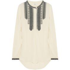 DAY Birger et Mikkelsen Embroidered crepe blouse ($240) ❤ liked on Polyvore