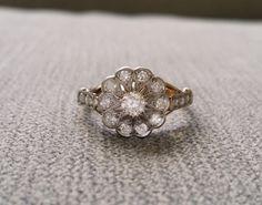Antique Engagement Ring Old European Diamond two tone 18K Yellow Gold Platinum late 1800s Victorian Art deco Flower Estate Size 7.25