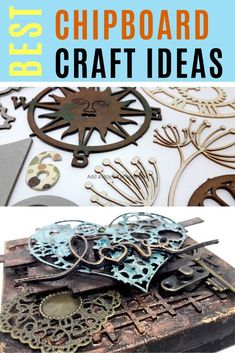 Check out these chipboard craft ideas with an explanation on what chipboard to use for what craft project! Craft Projects For Adults, Easy Craft Projects, Arts And Crafts Projects, Craft Ideas, Chipboard Crafts, Paper Crafts, Diy Crafts, Steampunk Crafts, Art And Craft Videos